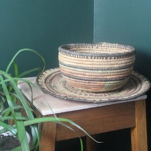 vtg 70s artisan woven bowl and plate